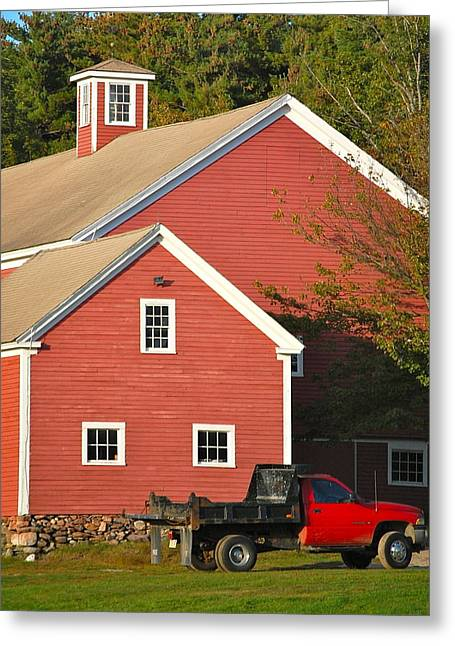 Red Barn - Red Truck Greeting Card