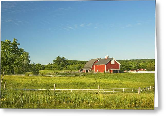 Red Barn And Fence On Farm In Maine Greeting Card