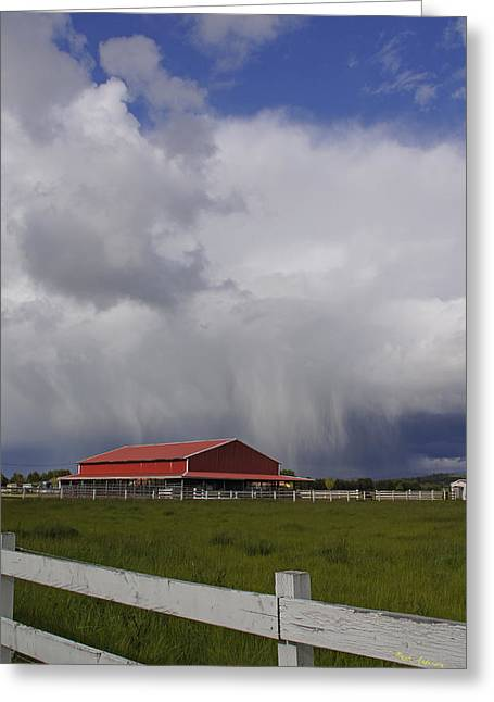 Red Barn And Stormy Sky Greeting Card by Mick Anderson