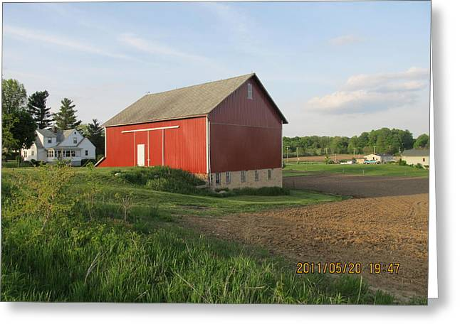 Greeting Card featuring the photograph Red Barn Four by Tina M Wenger
