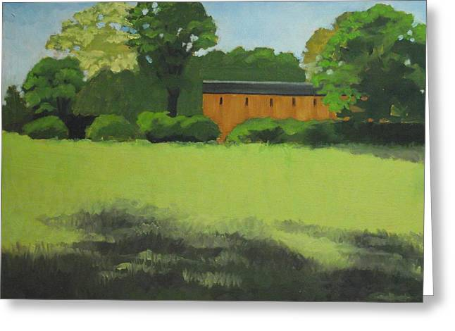 Red  Barn  In  Meadow Greeting Card by Robert Rohrich