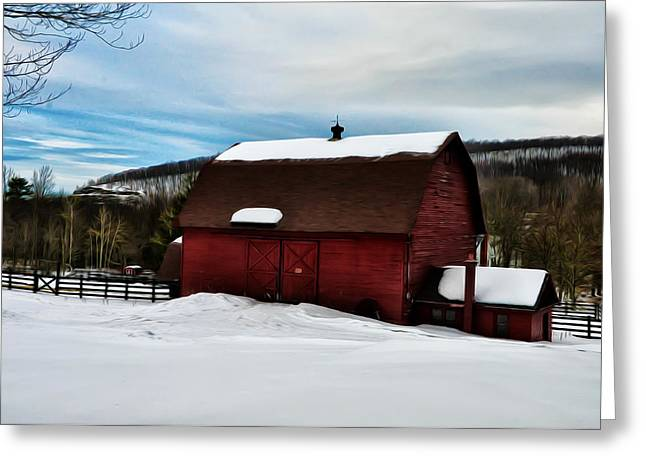 Red Barn In The Snow Greeting Card by Bill Cannon