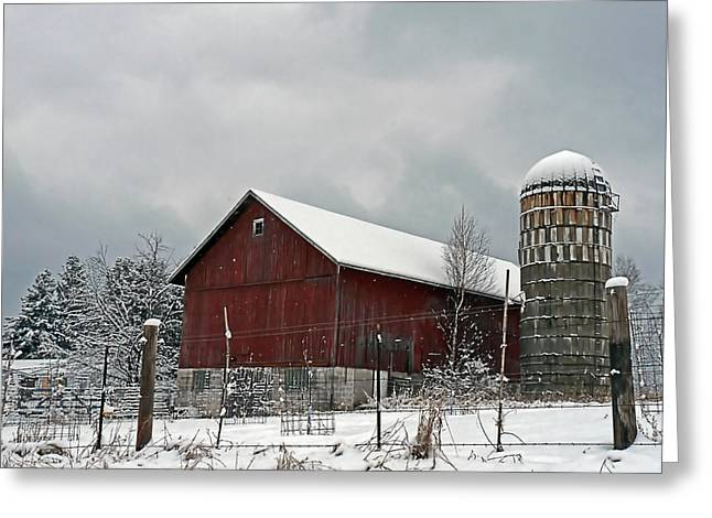 Greeting Card featuring the photograph Red Barn In Winter by Judy  Johnson