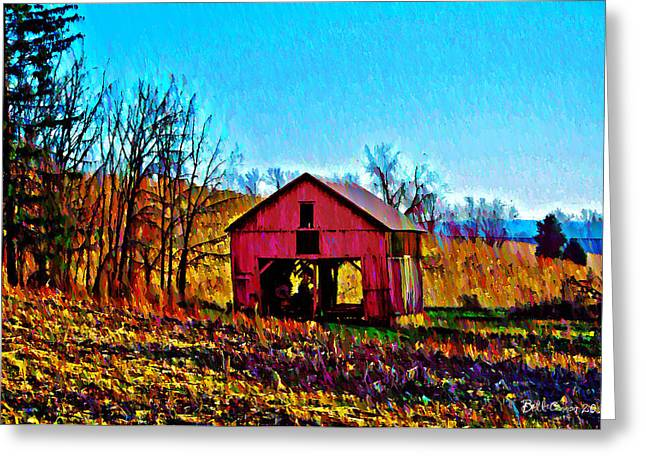 Red Barn On A Hillside Greeting Card by Bill Cannon