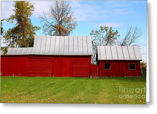Red Barn Greeting Card by Sophie Vigneault