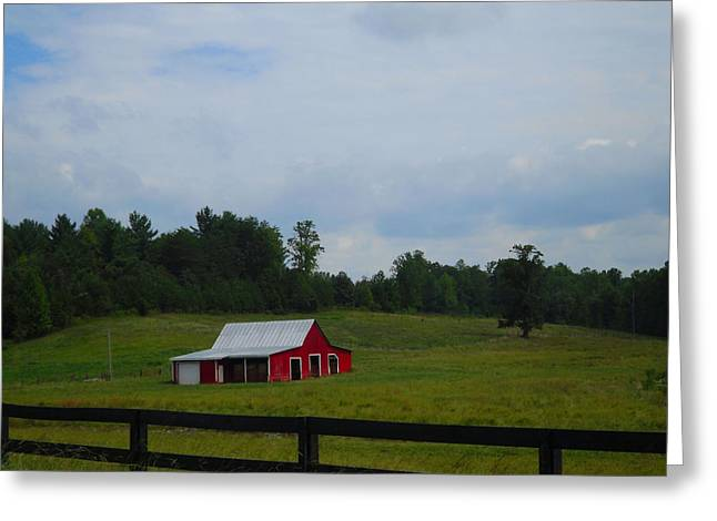 Red Barn Greeting Card by Victoria Ashley
