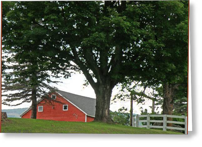 Red Barn White Fence Greeting Card