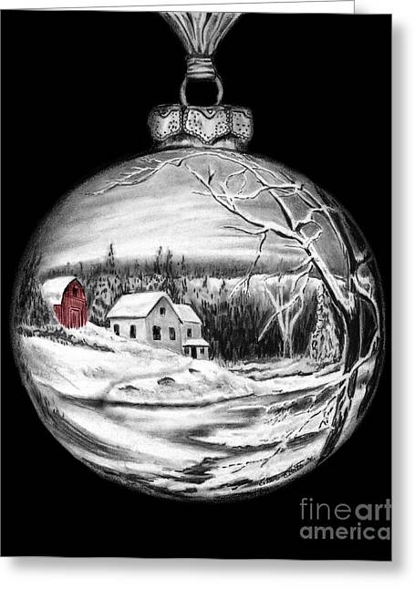 Red Barn Winter Scene Ornament  Greeting Card