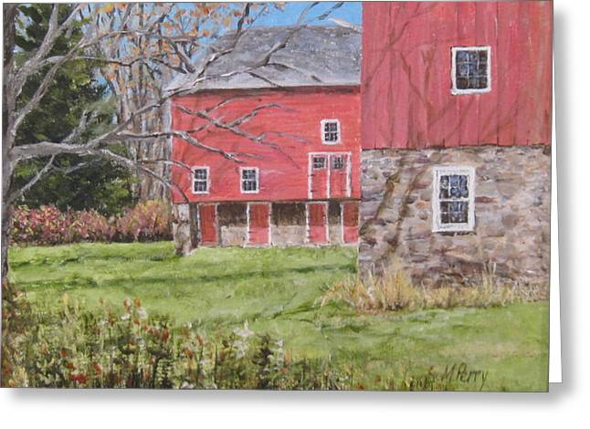 Red Barn With Shadows Greeting Card