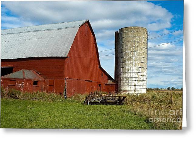 Red Barn With Silo Greeting Card by Ginger Harris