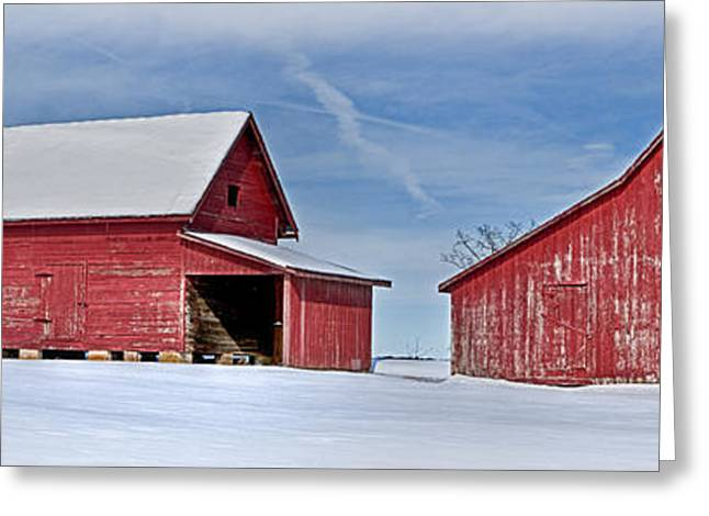 Red Barns In The Snow Greeting Card