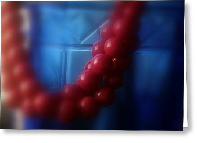 Red Beads No. 2 Greeting Card by Toni Hopper