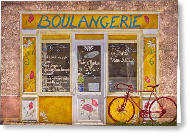Red Bike At The Boulangerie Greeting Card