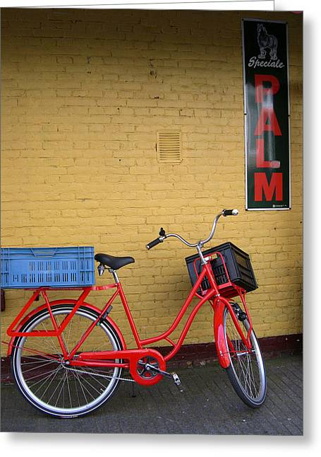 Red Bike With Blue Basket Greeting Card by Jill Pro