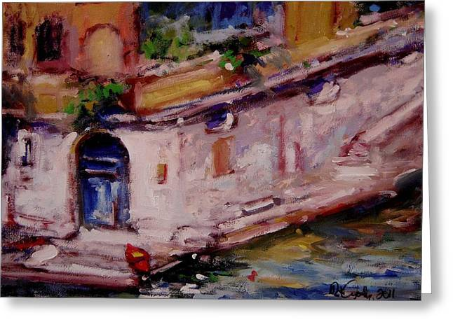 Red Boat Blue Door Greeting Card by R W Goetting