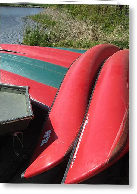 Red Boats Greeting Card by Todd Sherlock