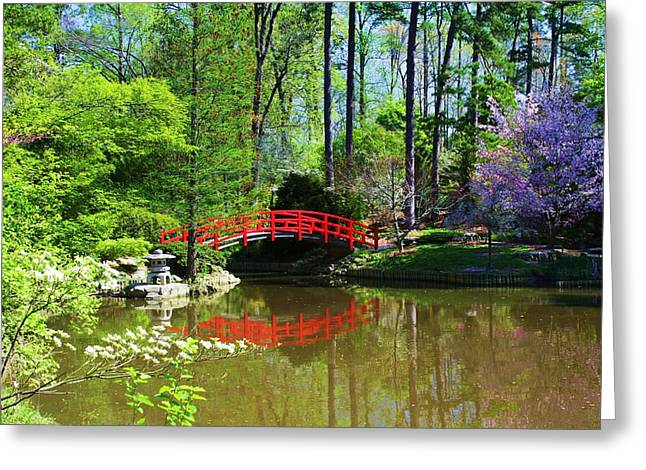 Greeting Card featuring the photograph Red Bridge by Bob Whitt