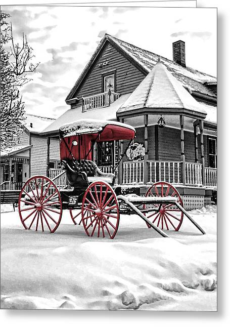 Red Buggy At Olmsted Falls - 2 Greeting Card