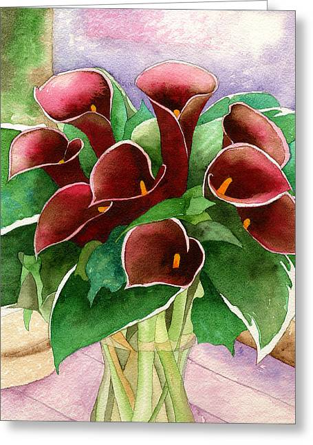 Red Calla Lilies Greeting Card by Eunice Olson