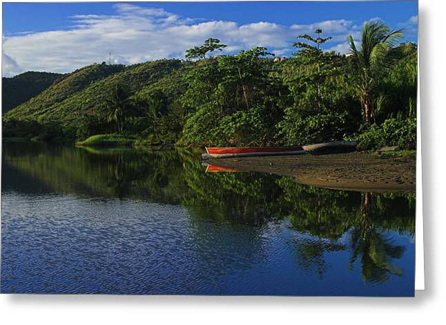 Red Canoe On Roseau River- St Lucia Greeting Card by Chester Williams