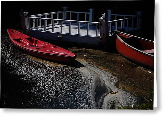 Red Canoes Greeting Card