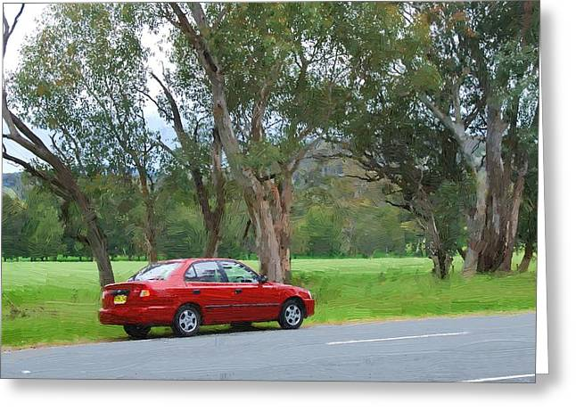 Red Car In The Countryside Greeting Card