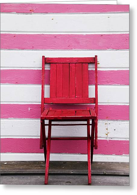 Red Chair And Pink Strips Greeting Card by Garry Gay