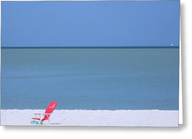 Red Chair And Sailboat Greeting Card