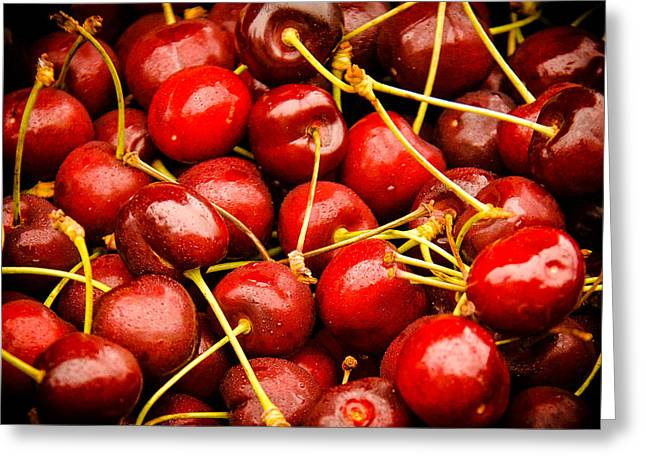 Red Cherries Greeting Card by Jen Morrison
