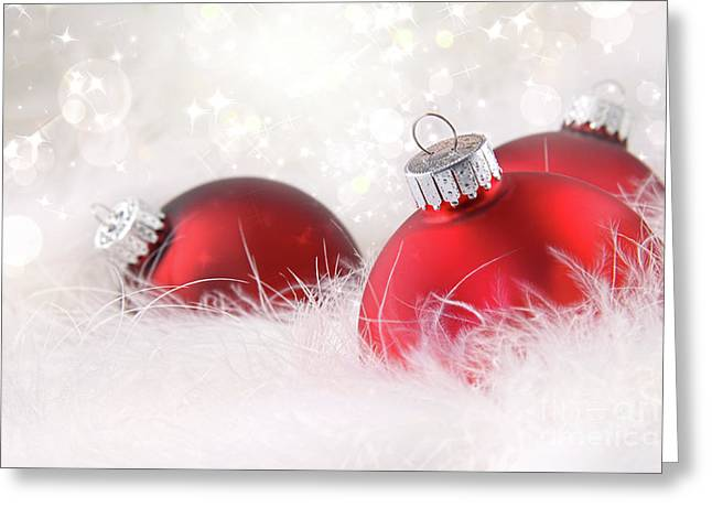 Red Christmas Balls In White Feathers  Greeting Card by Sandra Cunningham
