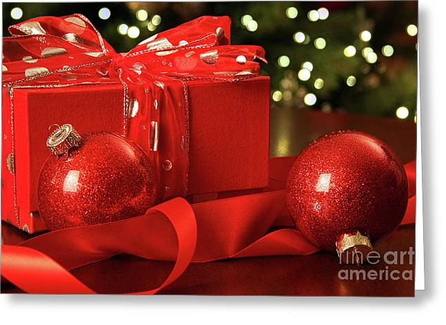 Red Christmas Gift With Ornaments  Greeting Card