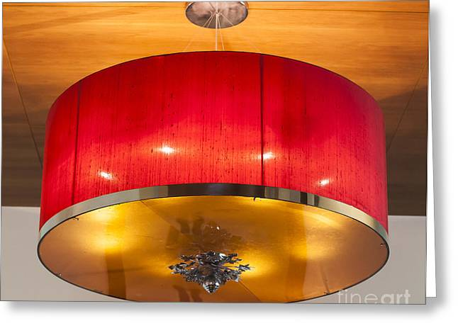 Red Circles Chandelier  Greeting Card by Chavalit Kamolthamanon