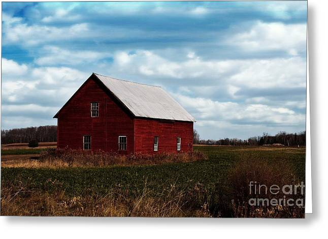 Red Counrty Barn Greeting Card by Ms Judi