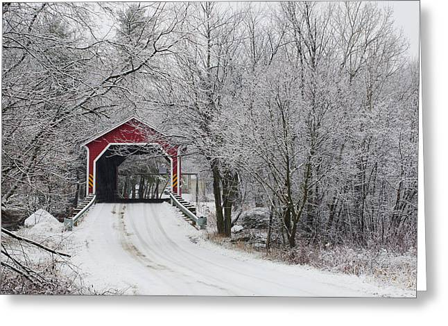 Red Covered Bridge In The Winter Greeting Card by David Chapman