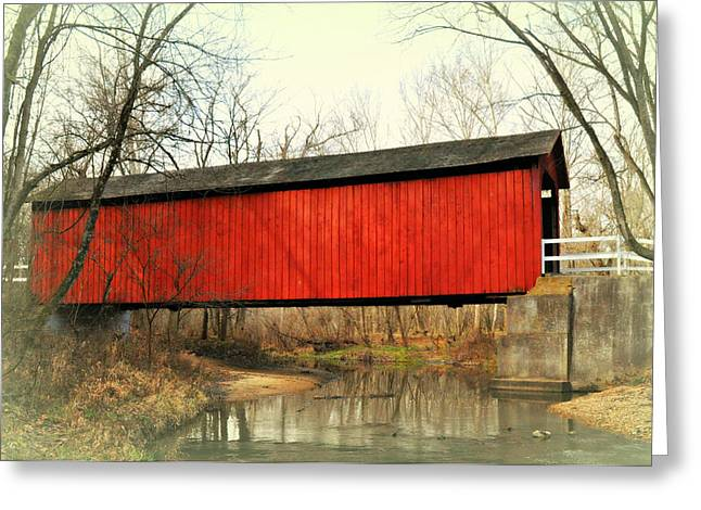 Red Covered Bridge Greeting Card by Marty Koch
