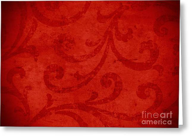 Red Crispy Oriental Style Decor For Fine Design. Greeting Card by Marta Mirecka