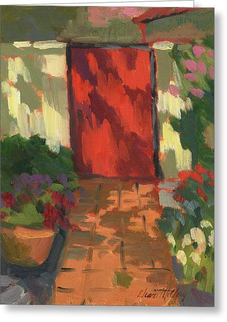 Red Door - Shadow And Light Greeting Card by Diane McClary