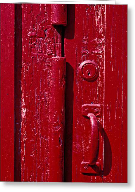 Red Door Close Up Greeting Card by Garry Gay
