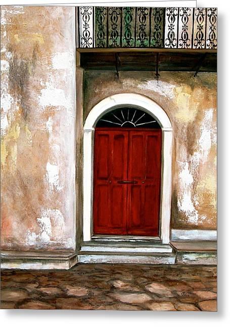 Red Door Greeting Card by Debi Starr