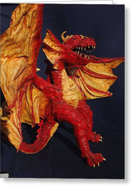 Red Dragon Greeting Card by Rick Ahlvers