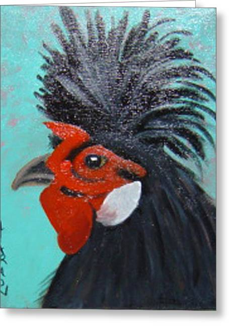 Red Faced Rooster Greeting Card by Margaret Harmon