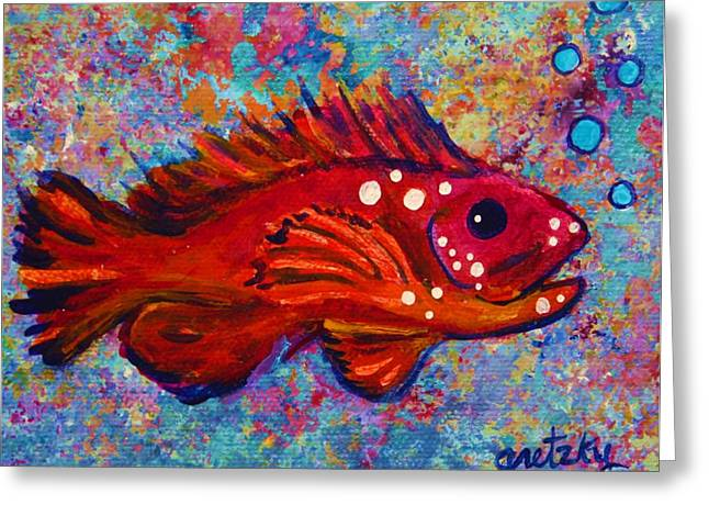 Red Fish Greeting Card by Paintings by Gretzky