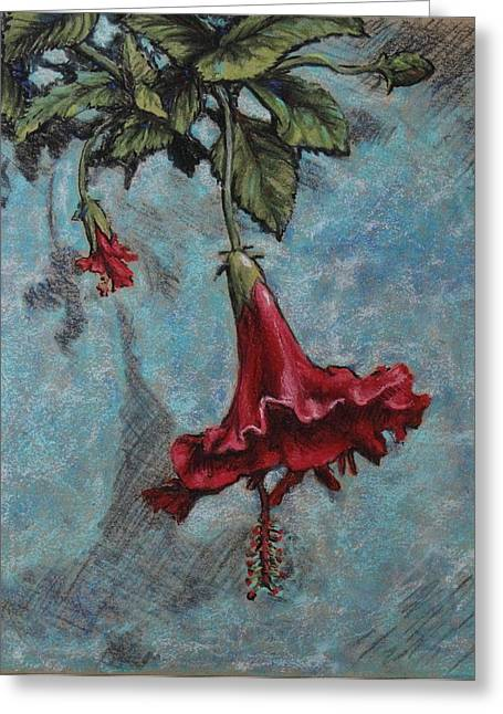 Red Flower Greeting Card by Greg Riley