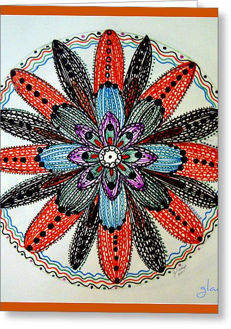 Red Flower Mandala  Greeting Card by Gladys Childers