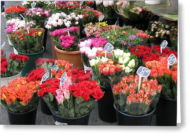 Greeting Card featuring the photograph Red Flowers In French Flower Market by Carla Parris