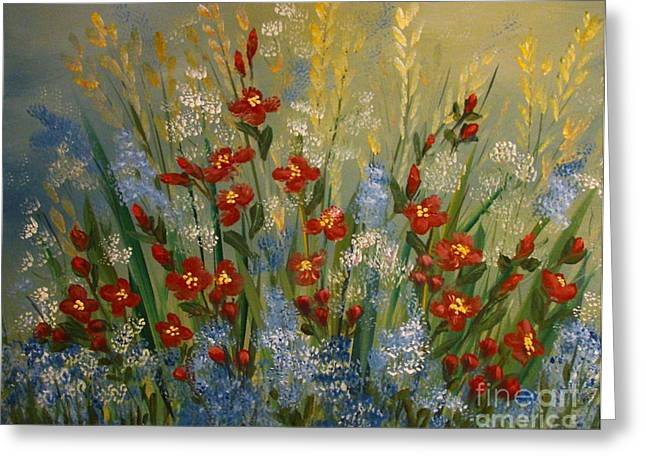Red Flowers In The Garden Greeting Card by Leea Baltes