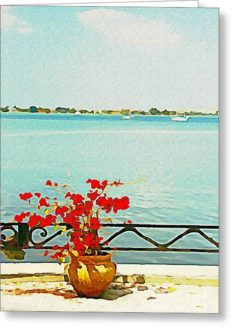 Red Flowers On The Bay Greeting Card by Joan McArthur