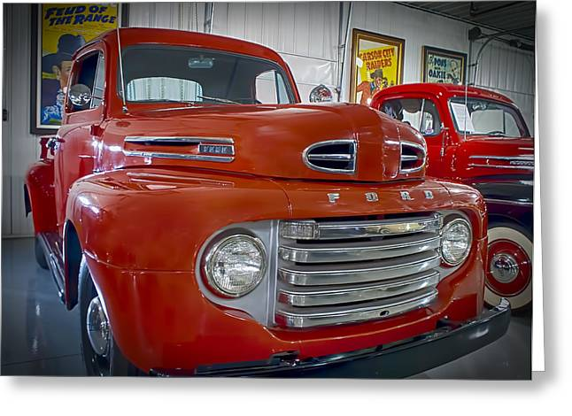 Greeting Card featuring the photograph Red Ford Pickup by Steve Benefiel