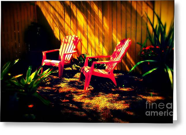Red Garden Chairs Greeting Card by Susanne Van Hulst