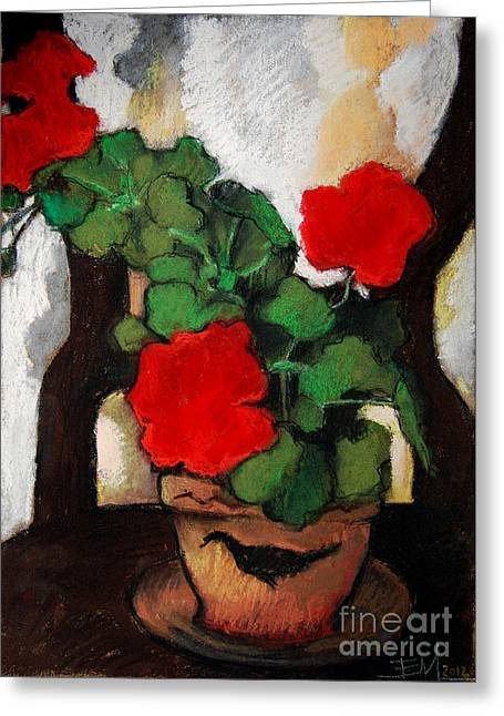 Red Geranium Greeting Card by Mona Edulesco